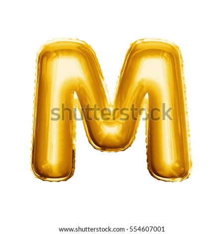 balloon letter m realistic 3d isolated gold helium balloon abc alphabet golden font text