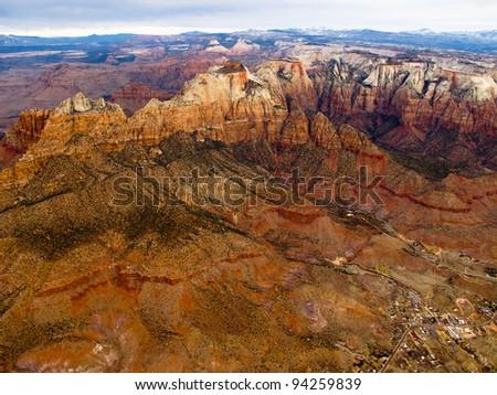 Balloon Overflight of Zion - stock photo