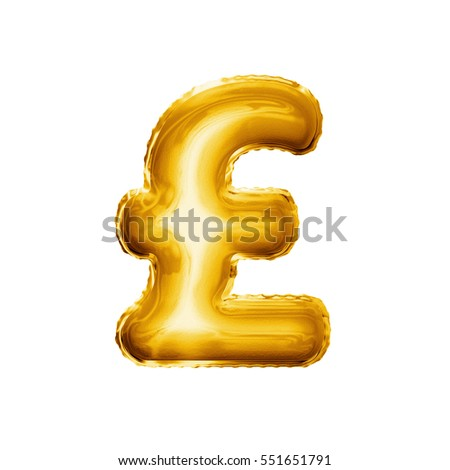 Balloon Pound Currency Symbol Realistic 3d Stock Illustration