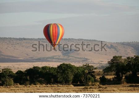 Balloon ride over the Masai Mara - stock photo