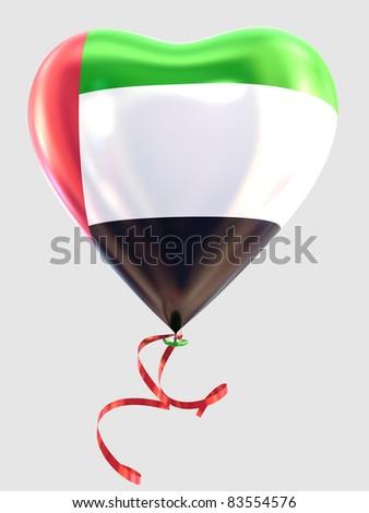 Balloon shape heart flag country United Arab Emirates - stock photo