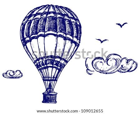 Balloon sketch. Raster - stock photo