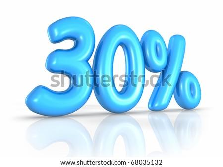 Balloon thirty percent, isolated on white background. 30% - stock photo