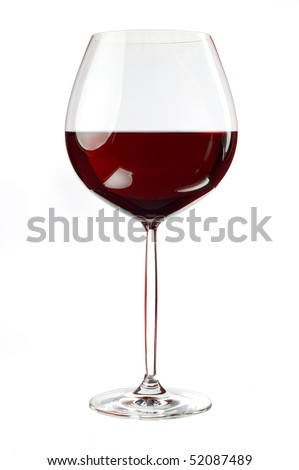 Balloon wineglass for bold,rich red wines isolated on white background - stock photo