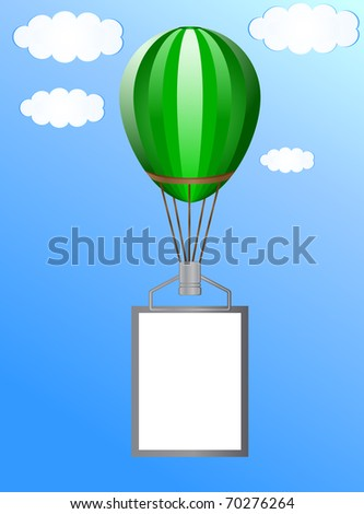 Balloon with a banner against the blue sky with clouds - stock photo