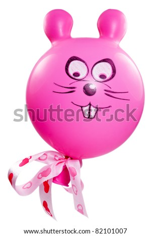 balloon with a bunny face. isolated on white.