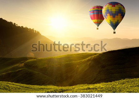 Ballooning flying over the tea plantation