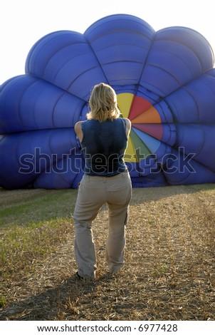 balloonist and balloon - stock photo