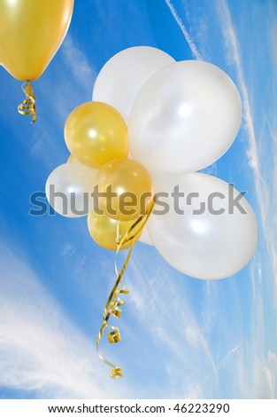 Balloons against the sky. Are isolated - stock photo