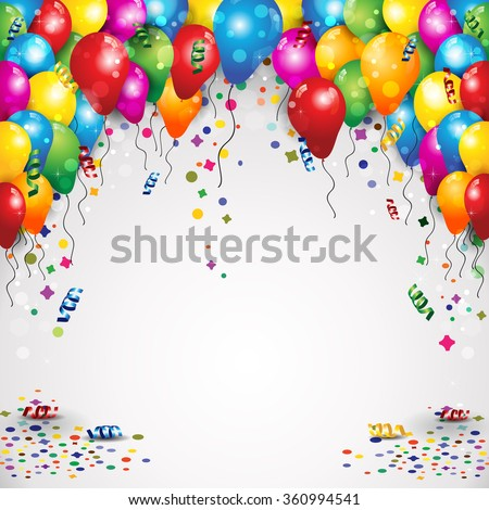 Balloons and confetti for parties birthday with space to insert your text - stock photo