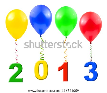 Balloons and 2013 isolated on white background - stock photo
