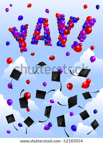 Balloons and mortarboards - raster - stock photo