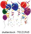 Balloons and streamers Selection of different colored balloons, streamers and confetti. Fully editable for your next function. - stock photo