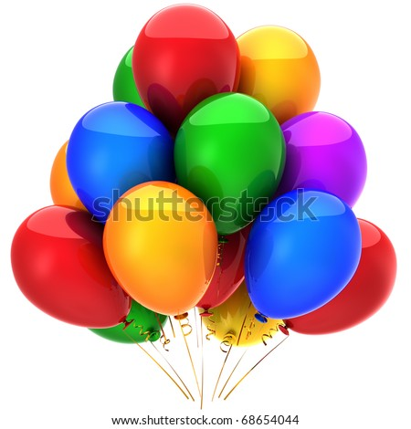 Balloons birthday party decoration colorful. Modern greeting card design element. Happiness joy joyful fun funny positive icon concept. Detailed 3d render. Isolated on white background - stock photo