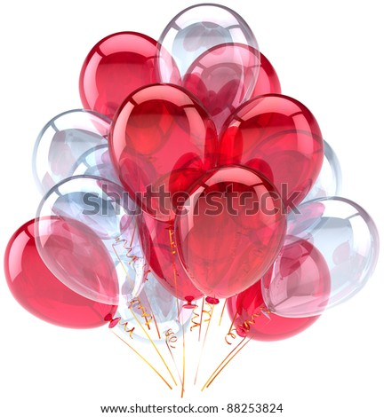 Balloons birthday party red white decoration translucent. Weekend holiday anniversary retirement graduation celebration concept. Fun joy happy abstract. Detailed render 3d. Isolated on background - stock photo