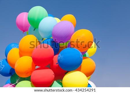 balloons  blue sky - stock photo