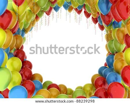 Balloons celebration background - colourful - stock photo