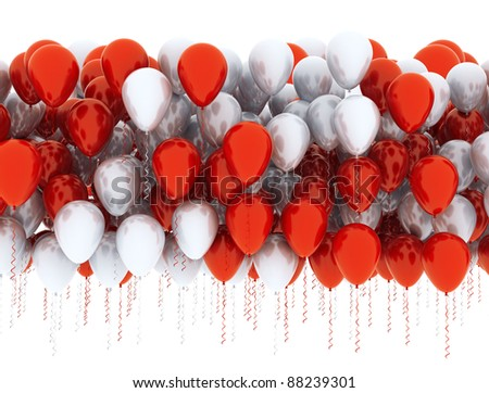 Balloons celebration background - red and white - stock photo