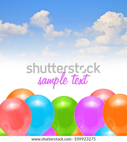 balloons decoration holiday sky blue - stock photo