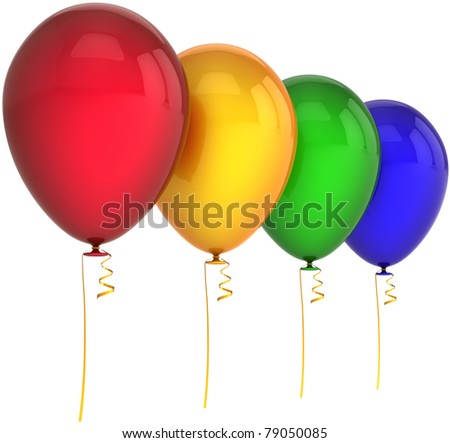 Balloons happy birthday party decoration 4 four red yellow green blue colors. Joy positive fun abstract. Anniversary celebration greeting card concept. Detailed 3d render. Isolated on white background