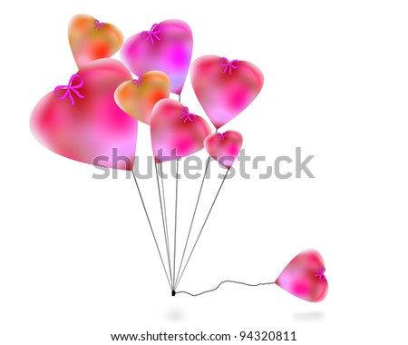 Balloons, hearts. May be used as background. - stock photo