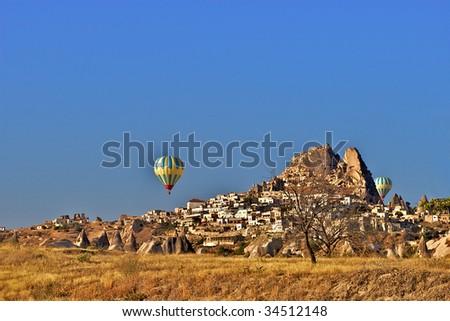 Balloons in Anatolia, Turkey - stock photo