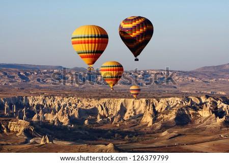 Balloons in Cappadocia, Turkey - stock photo