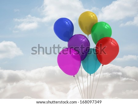 Many Beautiful Balloons In The Sky : Balloons in the sky - stock photo