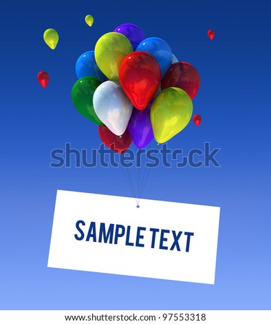 Balloons in the sky in 3D graphics sign writable. - stock photo