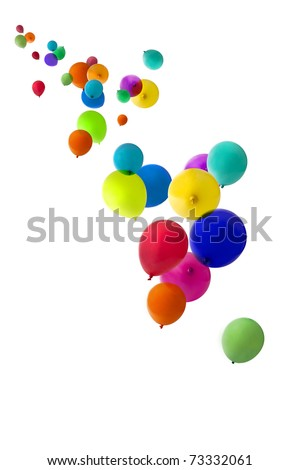 Balloons isolated on a white background floating upwards - stock photo