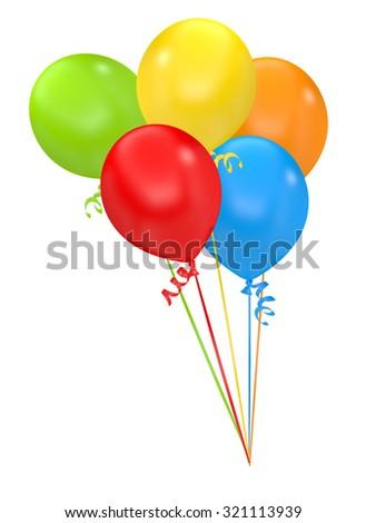Balloons, Isolated On White Background - stock photo