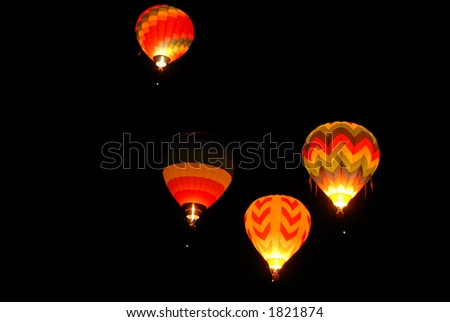 Balloons lighting up the darkness, Reno, Nevada - stock photo
