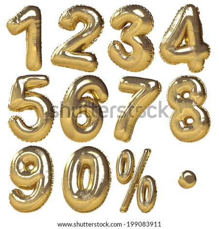 Balloons of numbers & percentage symbols presented in golden metallic style. Ideal for discount sale usage. Isolated in white background  - stock photo