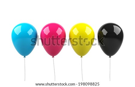 Balloons on a white background.  - stock photo