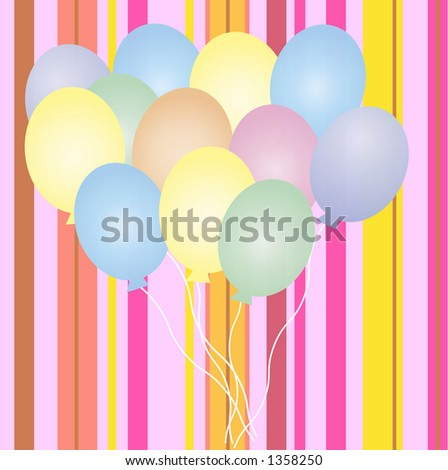 balloons on striped background - stock photo