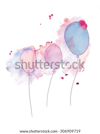 balloons on watercolor background. hand made drawing