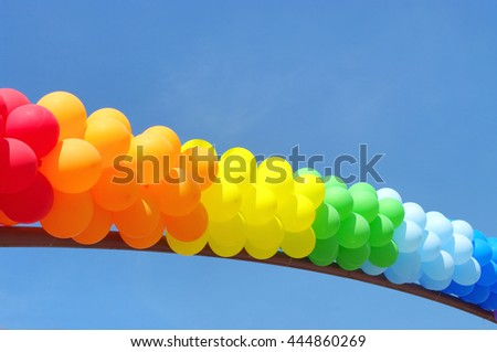 Balloons over a clear blue sky