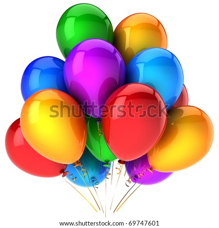 Balloons party balloon happy birthday decoration multicolor baloons. Retirement graduation anniversary holiday icon concept. Joy fun happiness positive concept. 3d render isolated on white background - stock photo
