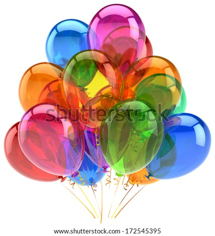 Balloons party birthday balloon decoration colorful translucent. Happy joy fun positive good emotion concept. Holiday anniversary retirement celebration icon. 3d render isolated on white background - stock photo