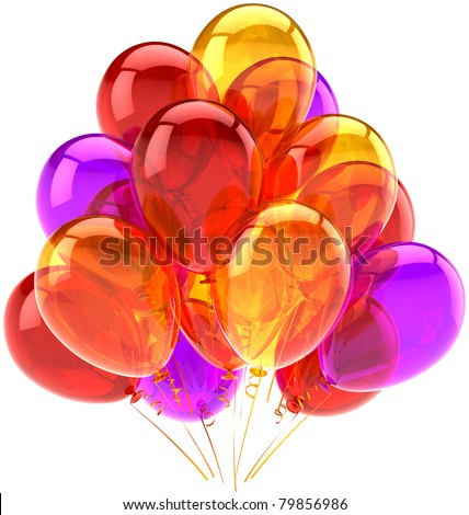 Balloons party birthday celebrate decoration shiny multicolor translucent. Joy happy fun abstract. Holiday anniversary greeting card concept. 3d render. Isolated on white background - stock photo