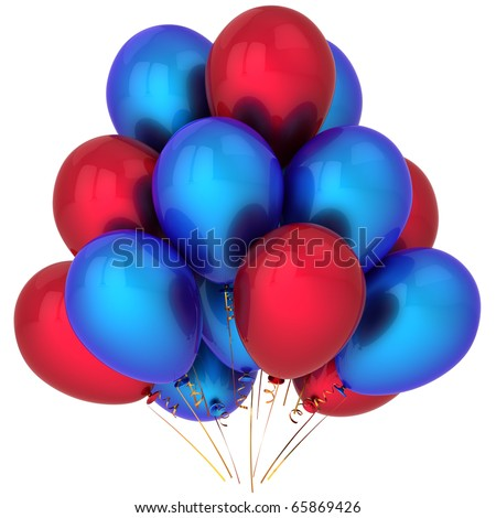 Balloons party birthday red blue shiny decoration holiday life events occasion anniversary greeting card design element. Happy joy positive emotion abstract. 3d render isolated on white background