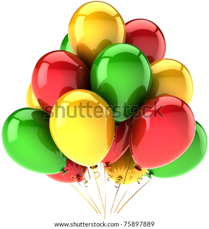 Balloons party decoration. Happy Birthday balloon group greeting card concept. Anniversary retirement graduation celebrate abstract. Detailed 3d render. Isolated on white background - stock photo