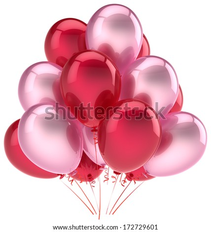 Balloons party happy birthday decoration pink red love helium balloon. Holiday anniversary graduation retirement celebration. Friendly emotion greeting card. 3d render isolated on white background - stock photo