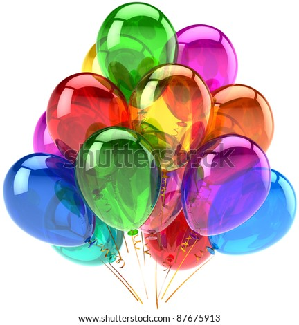 Balloons party happy birthday decoration rainbow multicolor translucent. Holiday anniversary retirement graduation celebrate life events concept. Fun joy icon. 3d render isolated on white background - stock photo