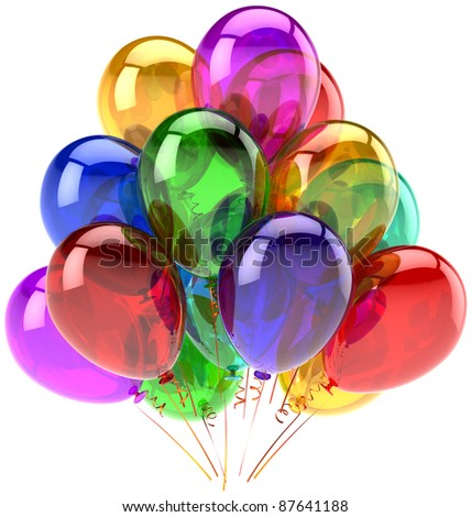 Balloons party Happy Birthday decoration rainbow multicolor translucent. Joy fun positive abstract. Holiday anniversary graduation celebrate concept. Detailed 3d render. Isolated on white background - stock photo
