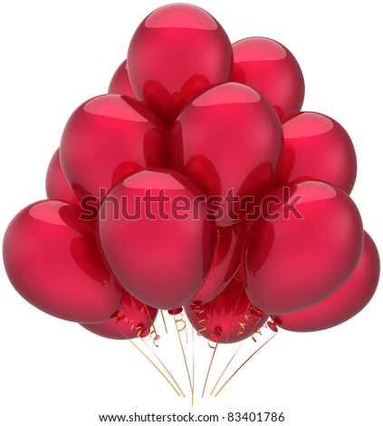Balloons party happy birthday decoration red celebrate balloon. Anniversary retirement occasion life event graduation greeting card concept. 3d render isolated on white background - stock photo