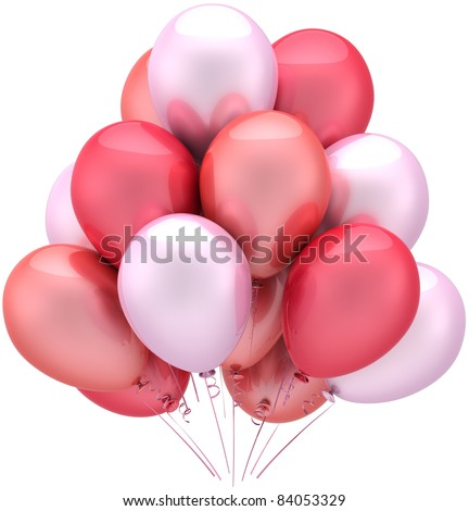 Balloons party happy birthday romantic Love decoration sentimental pink red. Anniversary celebration marriage wedding occasion greeting card concept. Detailed 3d render. Isolated on white background - stock photo