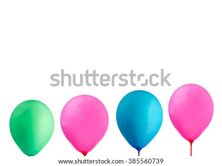 Balloons, pink, green, white background. - stock photo