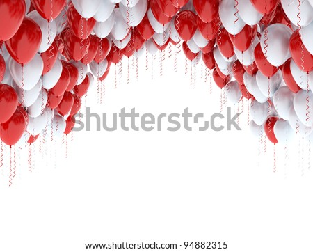 Balloons red and white - stock photo