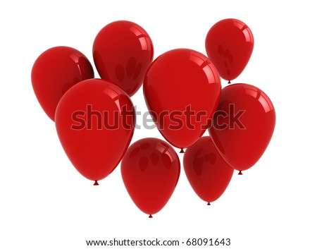 Balloons red - isolated on white background - stock photo